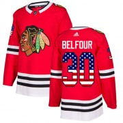 Adidas Chicago Blackhawks 30 ED Belfour Authentic Red USA Flag Fashion Youth NHL Jersey