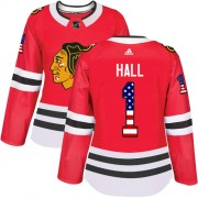 Adidas Chicago Blackhawks 1 Glenn Hall Authentic Red USA Flag Fashion Women's NHL Jersey