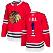 Adidas Chicago Blackhawks 1 Glenn Hall Authentic Red USA Flag Fashion Youth NHL Jersey