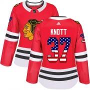 Adidas Chicago Blackhawks 37 Graham Knott Authentic Red USA Flag Fashion Women's NHL Jersey