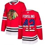 Adidas Chicago Blackhawks 42 Gustav Forsling Authentic Red USA Flag Fashion Men's NHL Jersey