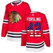 Adidas Chicago Blackhawks 42 Gustav Forsling Authentic Red USA Flag Fashion Men's NHL Jersey