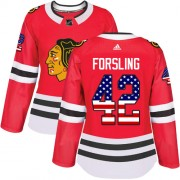 Adidas Chicago Blackhawks 42 Gustav Forsling Authentic Red USA Flag Fashion Women's NHL Jersey
