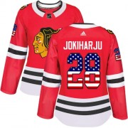 Adidas Chicago Blackhawks 28 Henri Jokiharju Authentic Red USA Flag Fashion Women's NHL Jersey