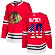 Adidas Chicago Blackhawks 40 John Hayden Authentic Red USA Flag Fashion Men's NHL Jersey