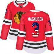 Adidas Chicago Blackhawks 3 Keith Magnuson Authentic Red USA Flag Fashion Women's NHL Jersey