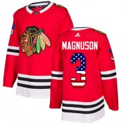 Adidas Chicago Blackhawks 3 Keith Magnuson Authentic Red USA Flag Fashion Youth NHL Jersey