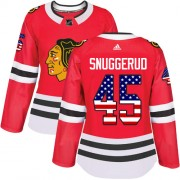 Adidas Chicago Blackhawks 45 Luc Snuggerud Authentic Red USA Flag Fashion Women's NHL Jersey