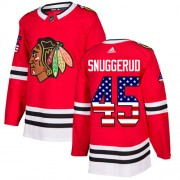 Adidas Chicago Blackhawks 45 Luc Snuggerud Authentic Red USA Flag Fashion Youth NHL Jersey