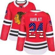 Adidas Chicago Blackhawks 24 Martin Havlat Authentic Red USA Flag Fashion Women's NHL Jersey