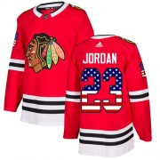 Adidas Chicago Blackhawks 23 Michael Jordan Authentic Red USA Flag Fashion Youth NHL Jersey