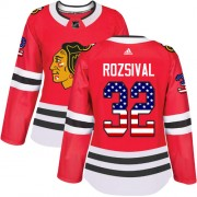 Adidas Chicago Blackhawks 32 Michal Rozsival Authentic Red USA Flag Fashion Women's NHL Jersey