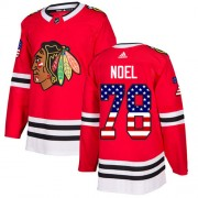 Adidas Chicago Blackhawks 78 Nathan Noel Authentic Red USA Flag Fashion Men's NHL Jersey