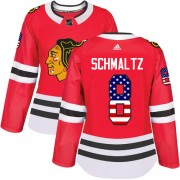 Adidas Chicago Blackhawks 8 Nick Schmaltz Authentic Red USA Flag Fashion Women's NHL Jersey