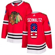 Adidas Chicago Blackhawks 8 Nick Schmaltz Authentic Red USA Flag Fashion Youth NHL Jersey