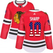 Adidas Chicago Blackhawks 10 Patrick Sharp Authentic Red USA Flag Fashion Women's NHL Jersey