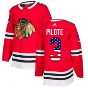 Adidas Chicago Blackhawks 3 Pierre Pilote Authentic Red USA Flag Fashion Youth NHL Jersey