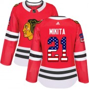 Adidas Chicago Blackhawks 21 Stan Mikita Authentic Red USA Flag Fashion Women's NHL Jersey