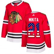 Adidas Chicago Blackhawks 21 Stan Mikita Authentic Red USA Flag Fashion Youth NHL Jersey