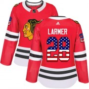Adidas Chicago Blackhawks 28 Steve Larmer Authentic Red USA Flag Fashion Women's NHL Jersey
