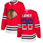 Adidas Chicago Blackhawks 28 Steve Larmer Authentic Red USA Flag Fashion Youth NHL Jersey