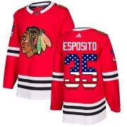 Adidas Chicago Blackhawks 35 Tony Esposito Authentic Red USA Flag Fashion Youth NHL Jersey
