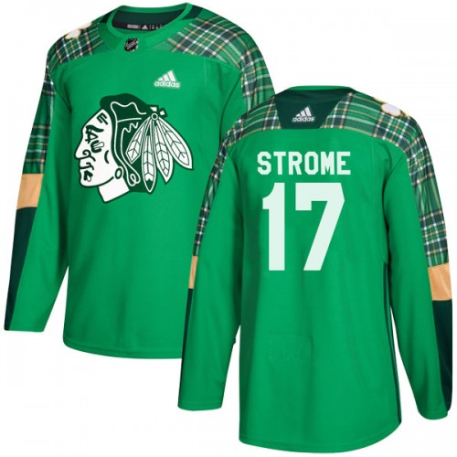 Adidas Chicago Blackhawks 17 Dylan Strome Authentic Green St. Patrick's Day Practice Youth NHL Jersey