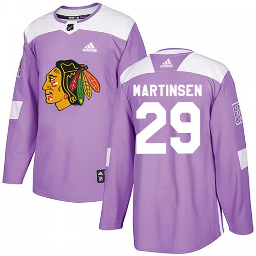 Adidas Chicago Blackhawks 29 Andreas Martinsen Authentic Purple Fights Cancer Practice Youth NHL Jersey