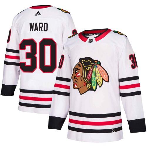 Adidas Chicago Blackhawks 30 Cam Ward Authentic White Away Men's NHL Jersey