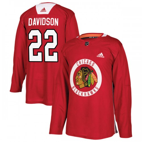 Adidas Chicago Blackhawks 22 Brandon Davidson Authentic Red Home Practice Men's NHL Jersey