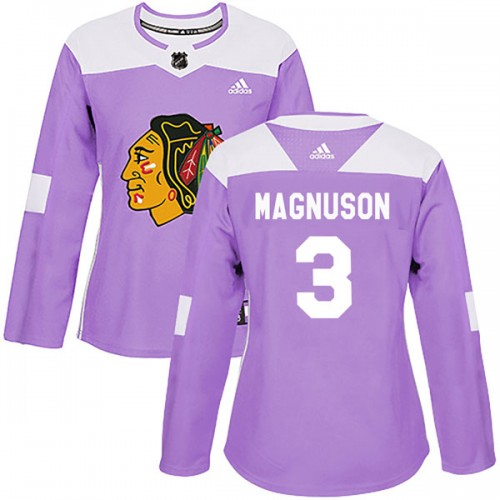 Adidas Chicago Blackhawks 3 Keith Magnuson Authentic Purple Fights Cancer Practice Women's NHL Jersey