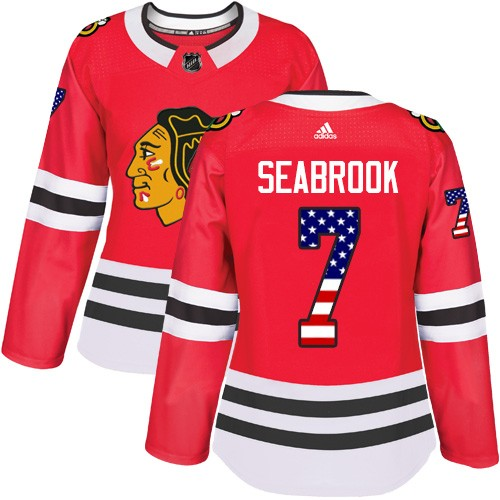 Adidas Chicago Blackhawks 7 Brent Seabrook Authentic Red USA Flag Fashion Women's NHL Jersey