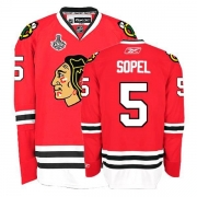 Reebok Chicago Blackhawks 5 Brent Sopel Authentic Red Home Man NHL Jersey with Stanley Cup Finals