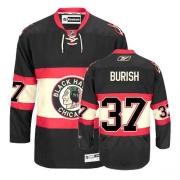 Youth Reebok Chicago Blackhawks 37 Adam Burish Authentic Black New Third NHL Jersey