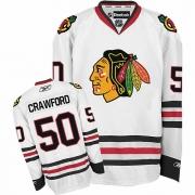 Reebok Chicago Blackhawks 50 Corey Crawford White Premier NHL Jersey