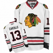 Reebok Chicago Blackhawks 13 Dan Carcillo White Authentic NHL Jersey
