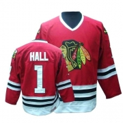 CCM Chicago Blackhawks 1 Glean Hall Throwback Authentic Red Man NHL Jersey