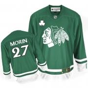 Reebok Chicago Blackhawks 27 Jeremy Morin Authentic Green St Patty's Day Man NHL Jersey
