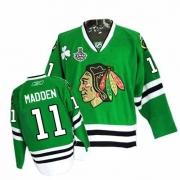 Reebok Chicago Blackhawks 11 John Madden Premier Green Man NHL Jersey with Stanley Cup Finals