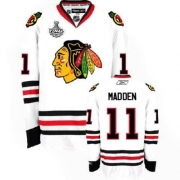 Reebok Chicago Blackhawks 11 John Madden Authentic White Man NHL Jersey with Stanley Cup Finals
