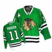 Reebok Chicago Blackhawks 11 John Madden Premier Green Man NHL Jersey