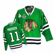 Reebok Chicago Blackhawks 11 John Madden Authentic Green Man NHL Jersey with Stanley Cup Finals