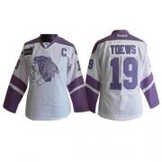 Reebok Chicago Blackhawks 19 Jonathan Toews White/Purple Women's Thanksgiving Edition Authentic NHL Jersey