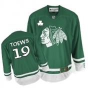 Youth Reebok Chicago Blackhawks 19 Jonathan Toews Authentic Green St Patty's Day NHL Jersey