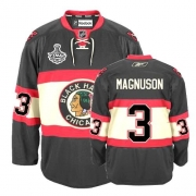 Reebok Chicago Blackhawks 3 Keith Magnuson Authentic Black New Third Man NHL Jersey with Stanley Cup Finals