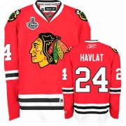 Reebok Chicago Blackhawks 24 Martin Havlat Authentic Red Home Man NHL Jersey with Stanley Cup Finals