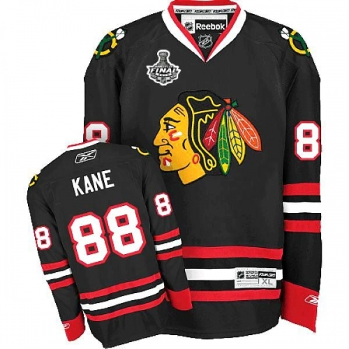Reebok Chicago Blackhawks 88 Patrick Kane Authentic Black Man NHL Jersey with Stanley Cup Finals