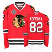 Reebok Chicago Blackhawks 82 Tomas Kopecky Authentic Red Home Man NHL Jersey with Stanley Cup Finals