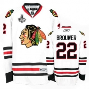 Reebok Chicago Blackhawks 22 Troy Brouwer Authentic White Man NHL Jersey with Stanley Cup Finals