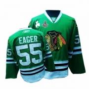 Reebok Chicago Blackhawks 55 Ben Eager Premier Green Man NHL Jersey with Stanley Cup Finals
